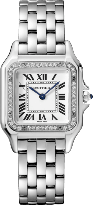 Panthère de Cartier watch Medium model, steel, diamonds