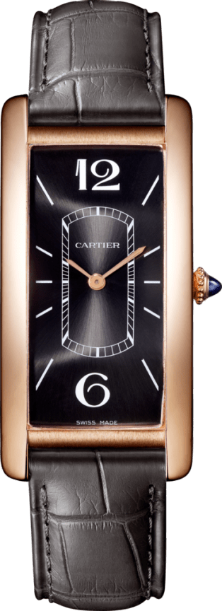 Tank Cintrée watch Pink gold, leather