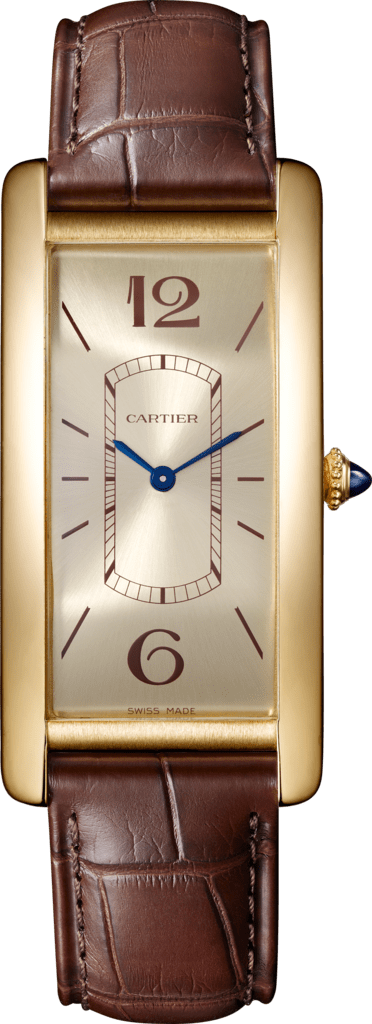 Tank Cintrée watchLarge model, hand-wound mechanical movement, yellow gold, leather