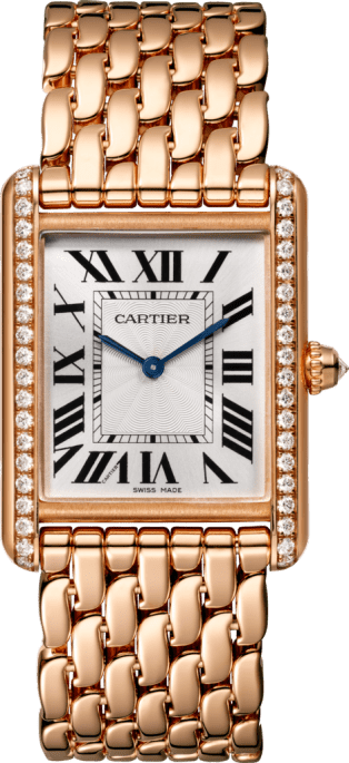 Tank Louis Cartier watch Large model, hand-wound mechanical movement, rose gold, diamonds