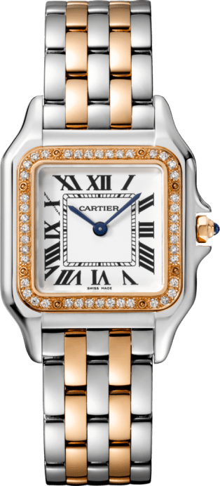 Panthère de Cartier watch Medium model, pink gold and steel, diamonds