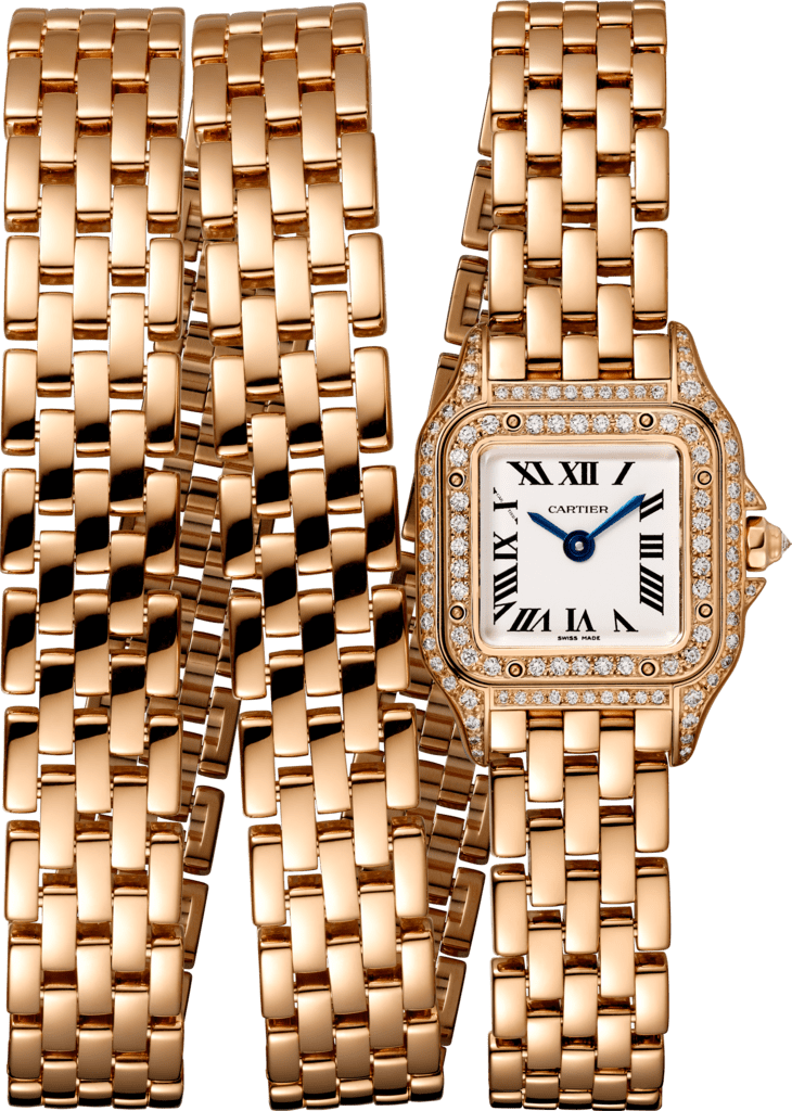 Panthère de Cartier watchMini model, triple loop, pink gold, diamonds