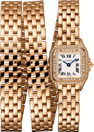 Panthère de Cartier watch Mini model, triple loop, pink gold, diamonds
