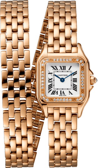 Panthère de Cartier watch Small model, double loop, pink gold, diamonds