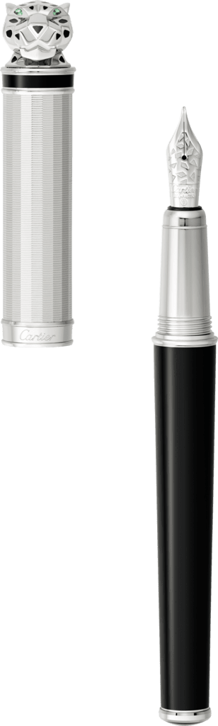 Menagerie exceptional Panthère fountain pen Sterling silver, palladium finish, black lacquer