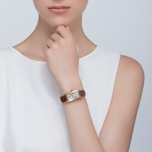 Tank Américaine watch Small model, 18K pink gold, leather, sapphire