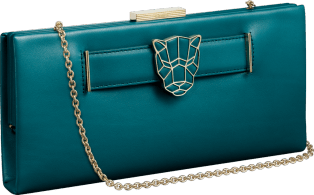 Panthère de Cartier clutch bag Malachite-colored calfskin, golden finish