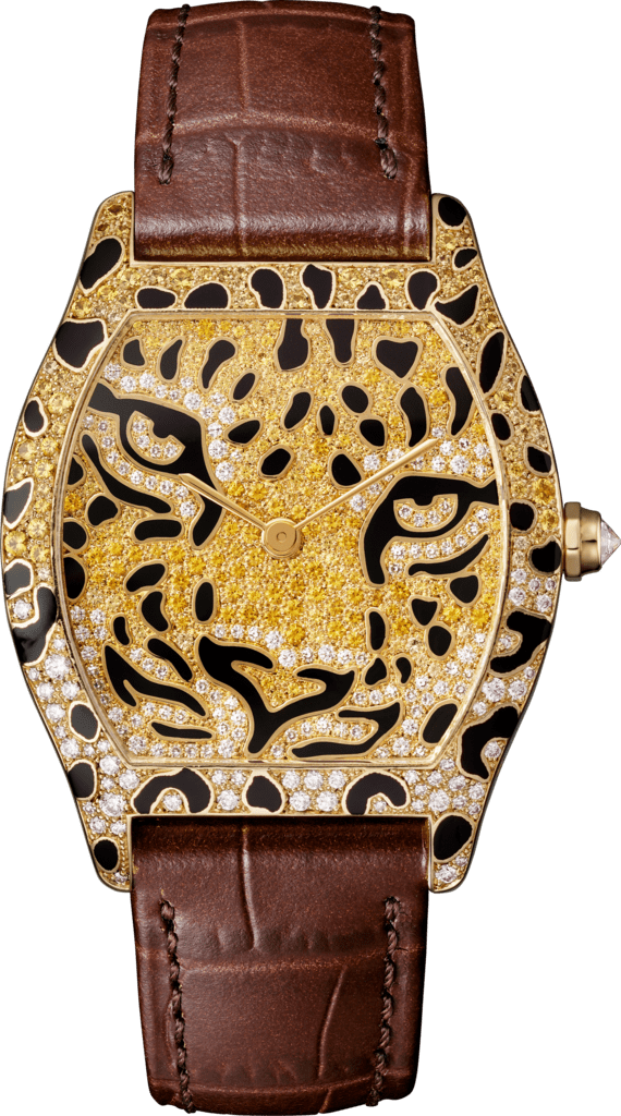 Tortue Regard de Panthère watchMedium model, yellow gold, diamonds, black lacquer