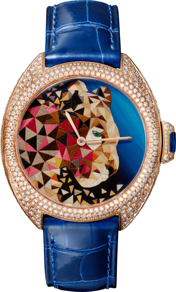 Clé de Cartier straw marquetry watch40mm, automatic movement, rose gold, diamonds, emerald, straw marquetry