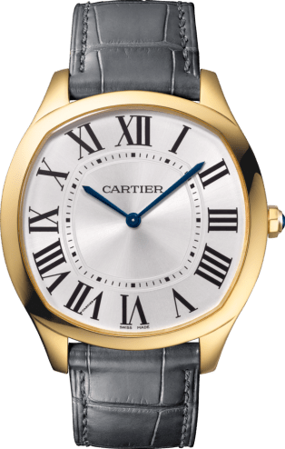Drive de Cartier watch Large model, hand-wound mechanical movement, yellow gold, leather