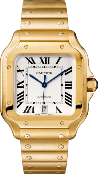 Santos de Cartier watch Large model, automatic, yellow gold, interchangeable metal and leather bracelets
