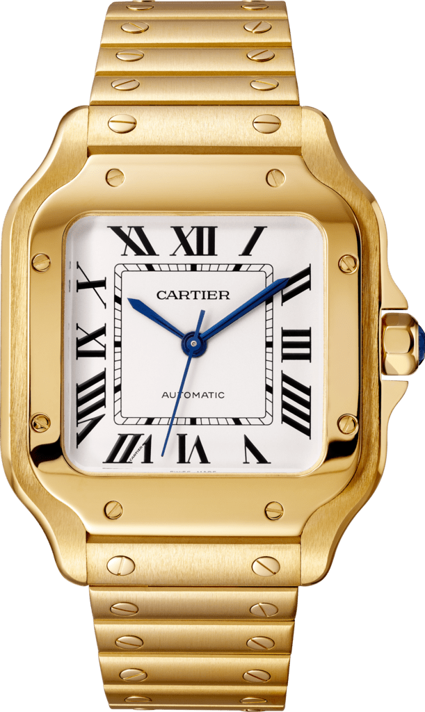 Santos de Cartier watchMedium model, automatic movement, yellow gold, interchangeable metal and leather bracelets