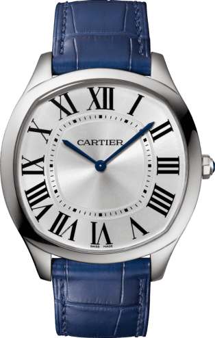 Drive de Cartier Extra-Flat watch Steel, leather