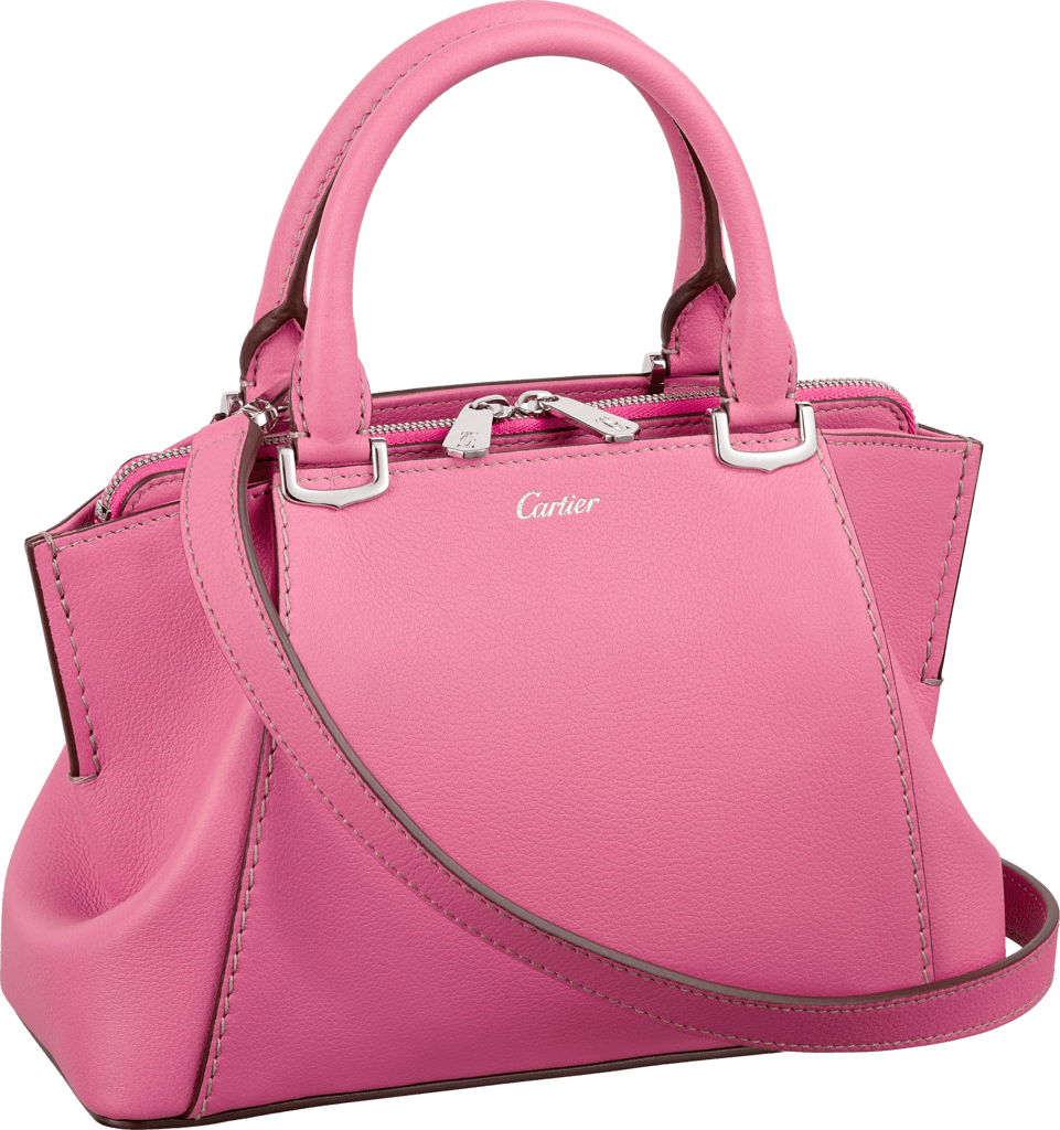 C de Cartier bag, mini modelPink sapphire taurillon leather, palladium finish