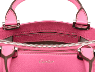 C de Cartier bag, mini model Pink sapphire taurillon leather, palladium finish