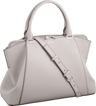 C de Cartier bag, small model Moonstone taurillon leather, palladium finish