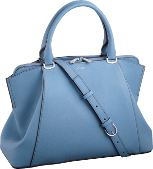 C de Cartier bag, small model Aquamarine taurillon leather, palladium finish