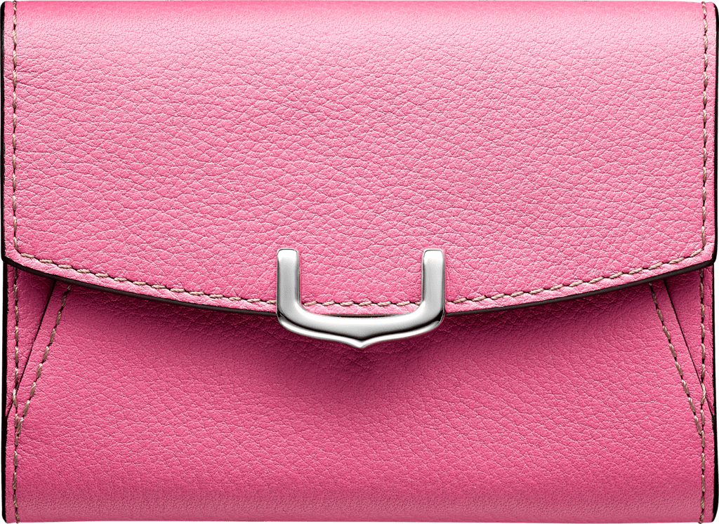 C de Cartier Small Leather Goods, card holderPink sapphire taurillon leather, palladium finish