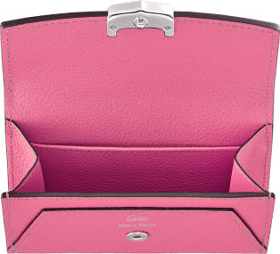 C de Cartier Small Leather Goods, card holder Pink sapphire taurillon leather, palladium finish