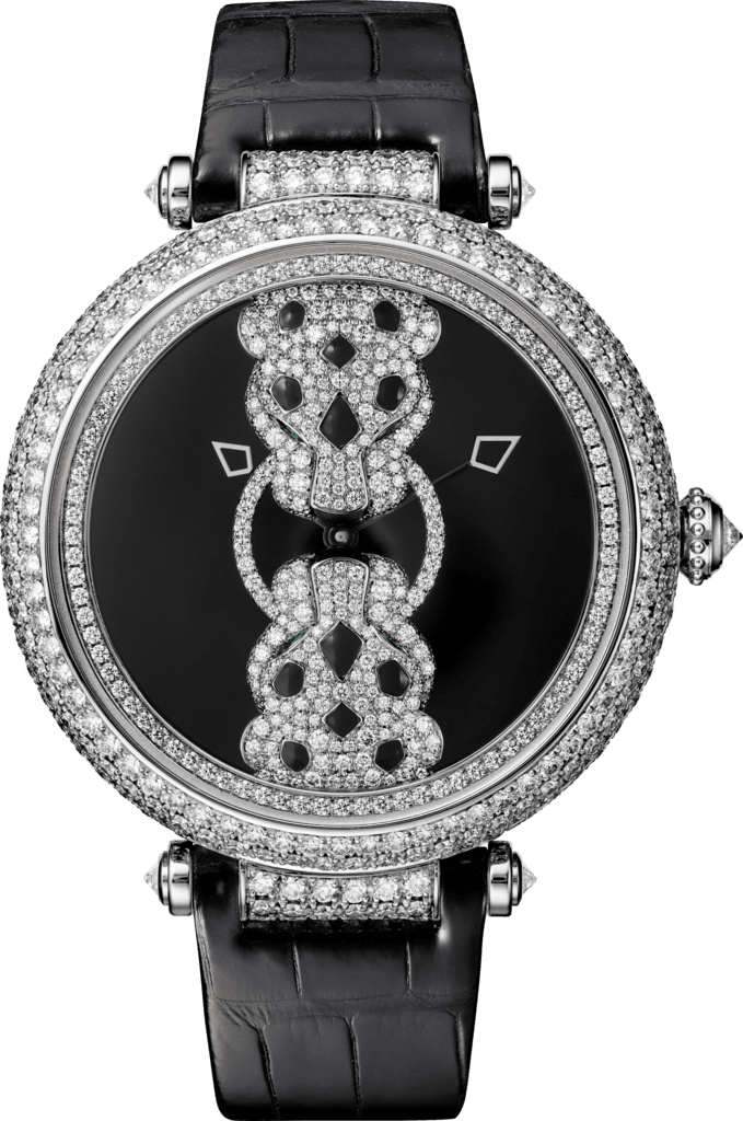 Panthère Jewelry Watches42 mm, white gold, diamonds, emeralds, black lacquer