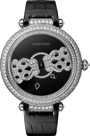 Panthère Jewelry Watches 42 mm, white gold, diamonds, emeralds, black lacquer
