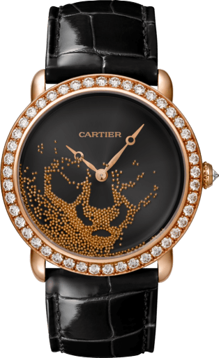 Panthère Jewelry Watches 37mm, hand-wound mechanical movement, rose gold, diamonds, rose gold beads