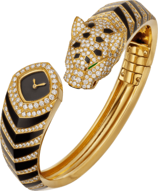 Panthère Jewelry Watches 18mm, quartz movement, yellow gold, diamonds, emeralds, lacquer