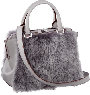 C de Cartier bag, mini model Pearl gray-colored calfskin and lamb fur, palladium finish