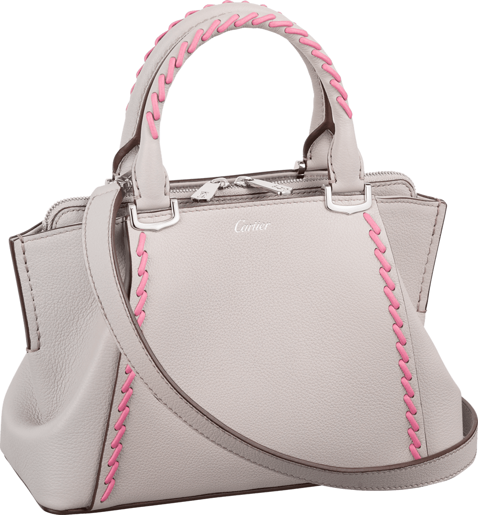 C de Cartier bag, mini modelMoonstone taurillon leather with pink thread, palladium finish