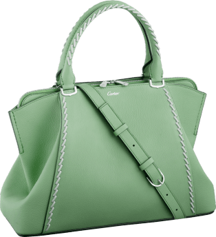 C de Cartier bag, small model Chrysoprase-colored taurillon leather with gray thread, palladium finish
