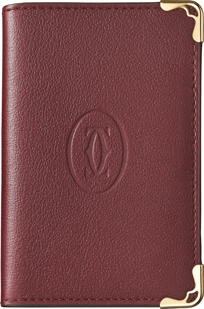 Must de Cartier Small Leather Goods, card holderBurgundy calfskin, golden finish
