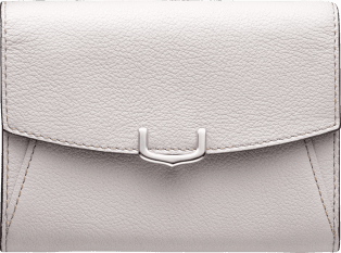 C de Cartier Small Leather Goods, compact wallet Moonstone taurillon leather, palladium finish