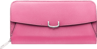 C de Cartier Small Leather Goods, zipped international wallet Pink sapphire taurillon leather, palladium finish
