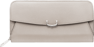C de Cartier Small Leather Goods, zipped international wallet Moonstone taurillon leather, palladium finish