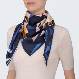 Panther pixel motif scarf Blue and orange silk twill
