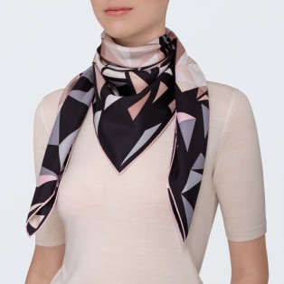 Panther pixel motif scarf Black, beige and pink silk twill