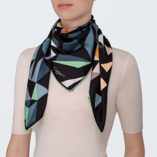 Panther pixel motif scarf Green and orange silk twill