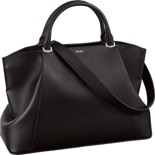 C de Cartier bag, medium model Onyx color taurillon leather, palladium finish