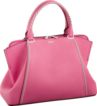 C de Cartier bag, small model Pink sapphire taurillon leather with gray thread, palladium finish