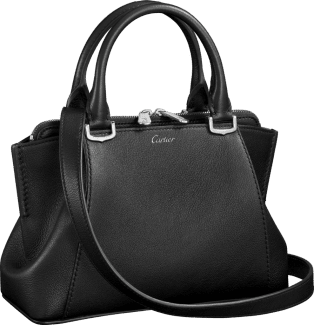 C de Cartier bag, mini model Onyx taurillon leather, palladium finish