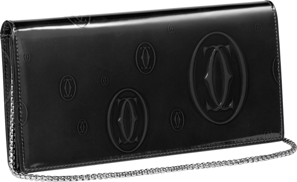 Happy Birthday Small Leather Goods, international wallet with chainBlack calfskin, palladium finish