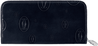 Happy Birthday Small Leather Goods, zipped international wallet Black calfskin, palladium finish