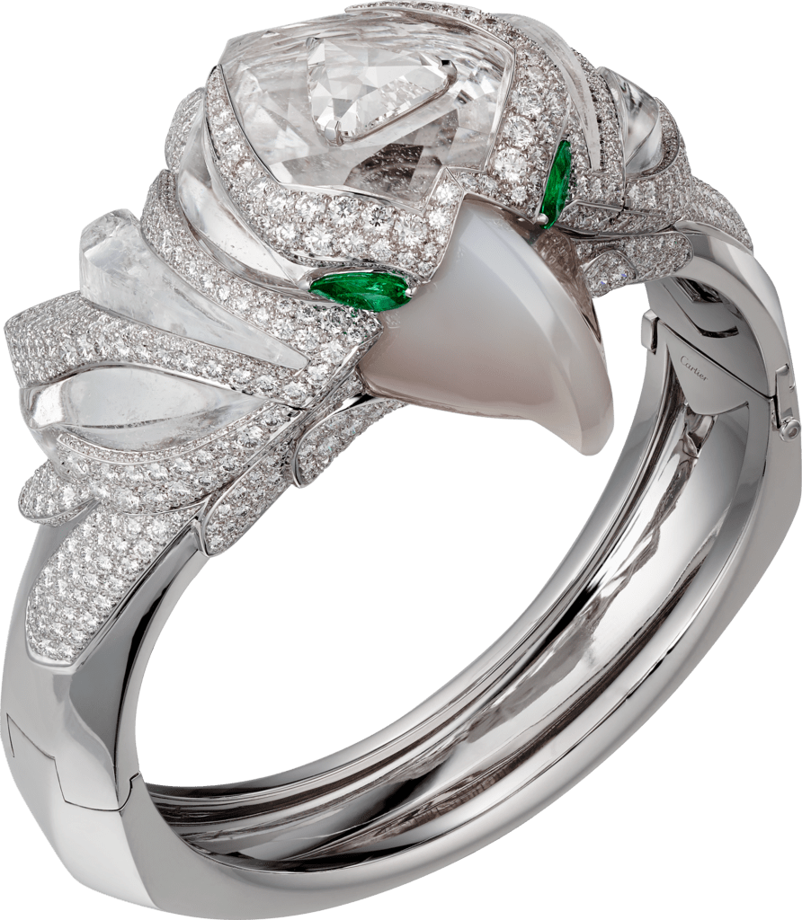 High Jewelry braceletWhite gold, rock crystal, agate, emeralds, diamonds