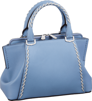 C de Cartier bag, mini model Aquamarine taurillon leather with gray thread, palladium finish