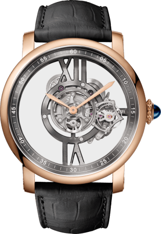 Rotonde de Cartier Astrotourbillon watch 47 mm, manual, pink gold, leather