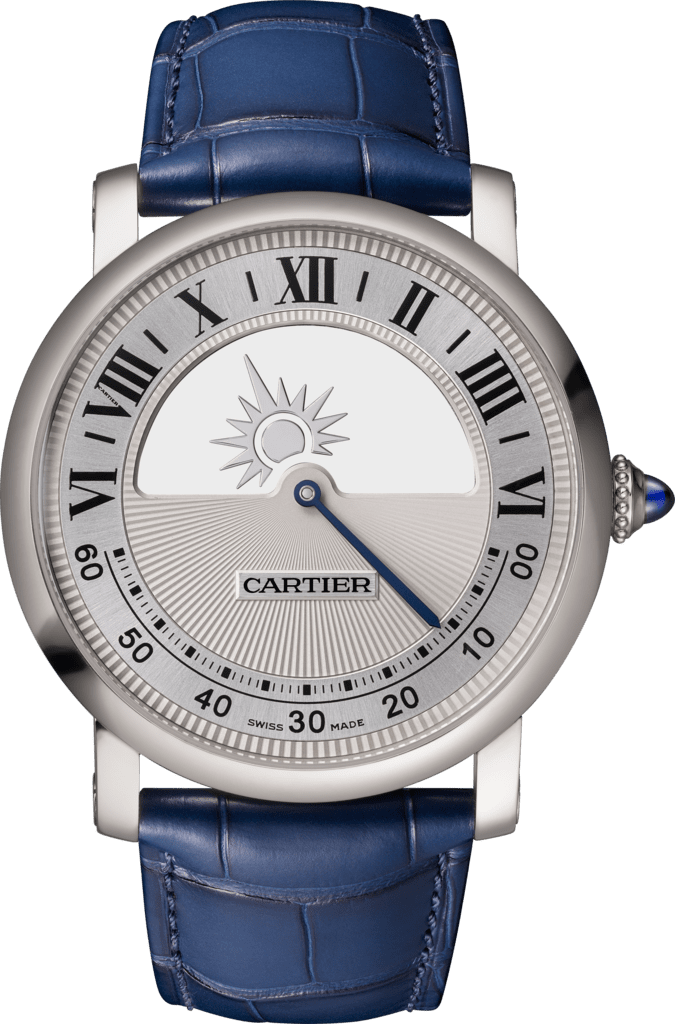Rotonde de Cartier mysterious movement watch40 mm, manual, 18K white gold, leather