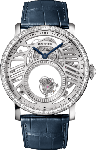 Fine Watchmaking paved watch 45mm, hand-wound mechanical movement, platinum, leather