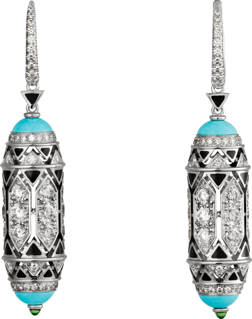 High Jewelry earringsWhite gold, turquoise, emerald cabochons, black lacquer, diamonds