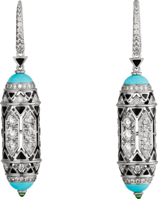 High Jewelry earrings White gold, turquoise, emerald cabochons, black lacquer, diamonds