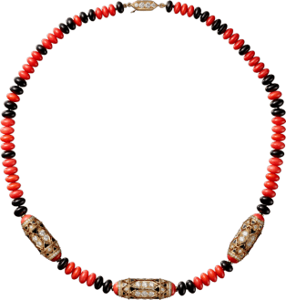 High Jewelry necklace Pink gold, coral, onyx, black lacquer, diamonds